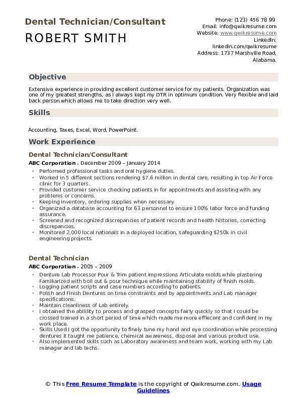 Dental Technician/Consultant Resume Format