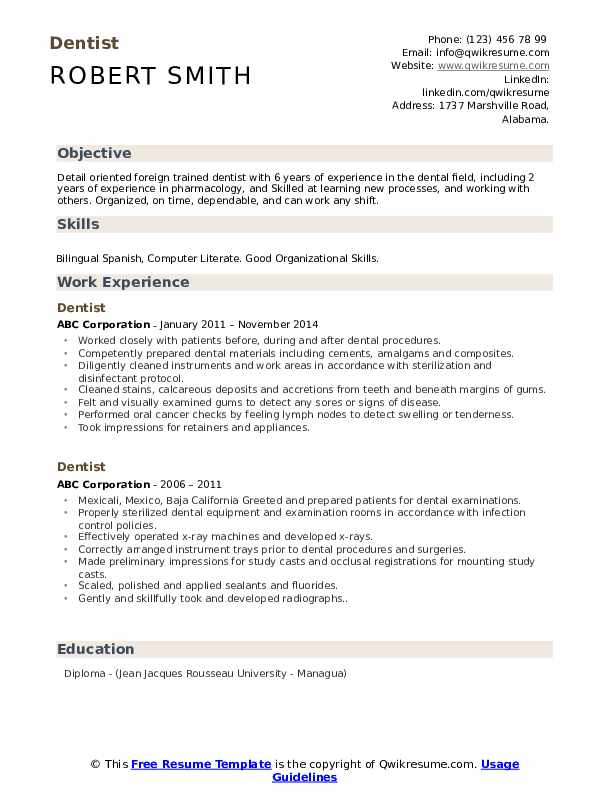 Dentist Resume Model