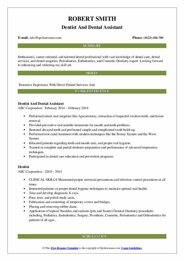 Dentist And Dental Assistant Resume Model