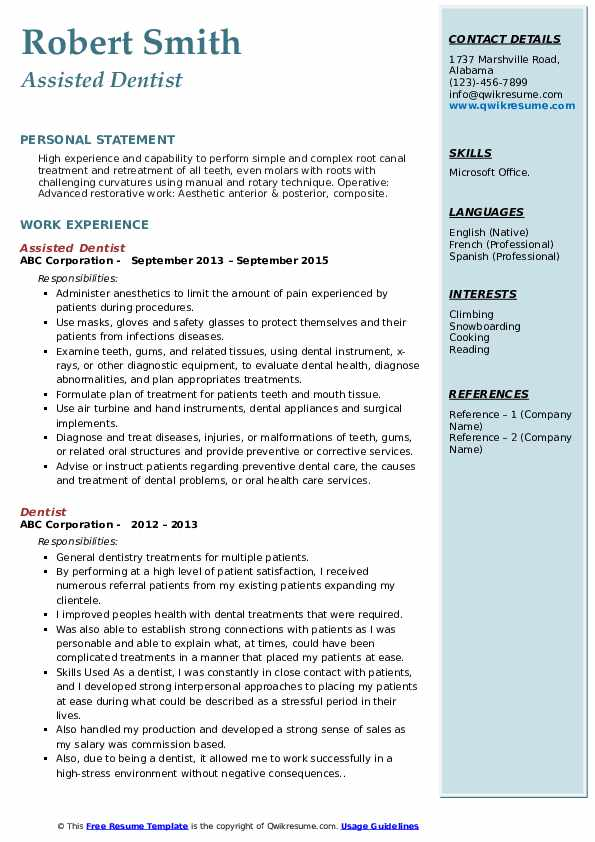 Assisted Dentist Resume Example