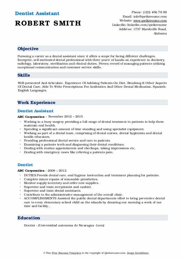 Dentist Assistant Resume Example