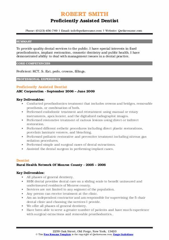Proficiently Assisted Dentist Resume Sample