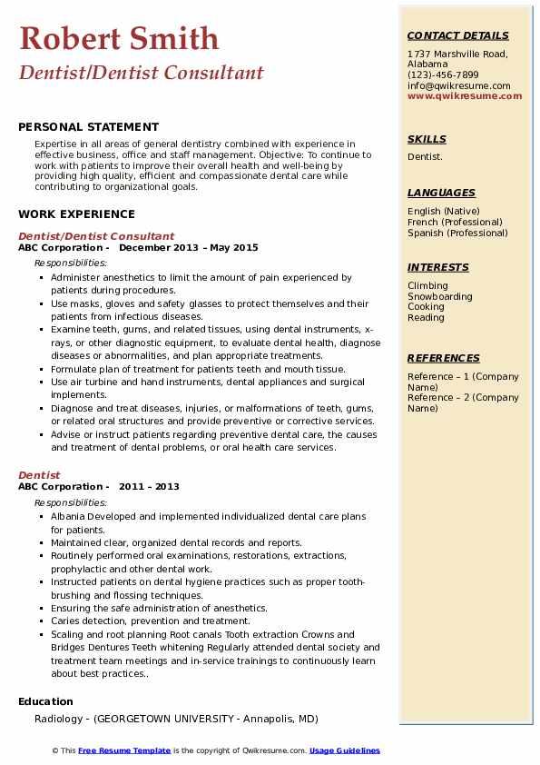 Dentist Resume Samples | QwikResume