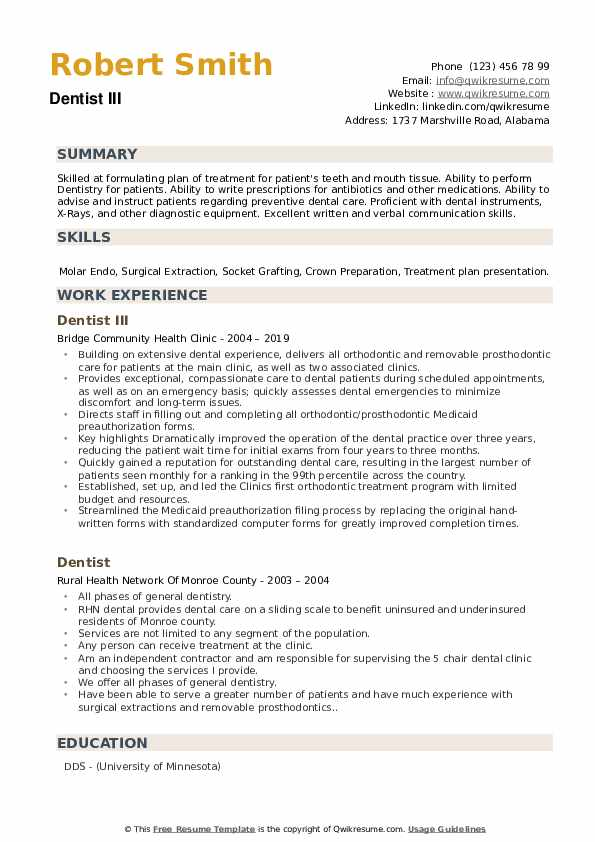 Dentist III Resume Model