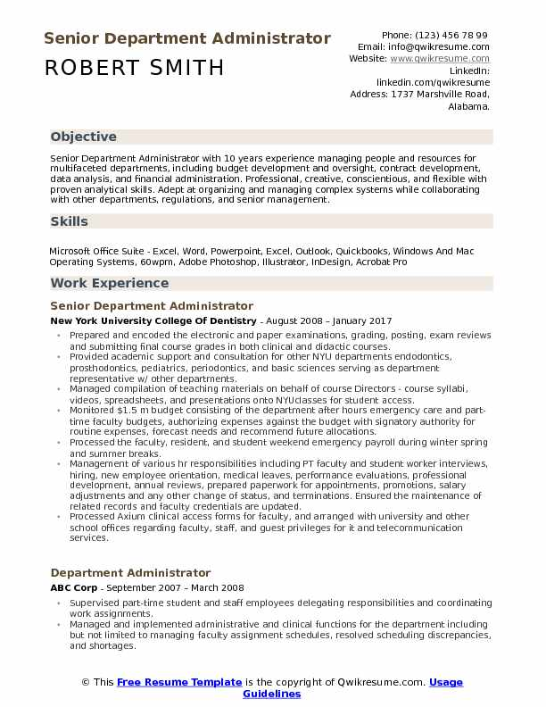 Senior Department Administrator Resume Sample
