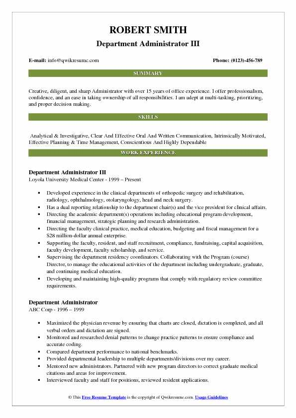 Department Administrator III Resume Sample