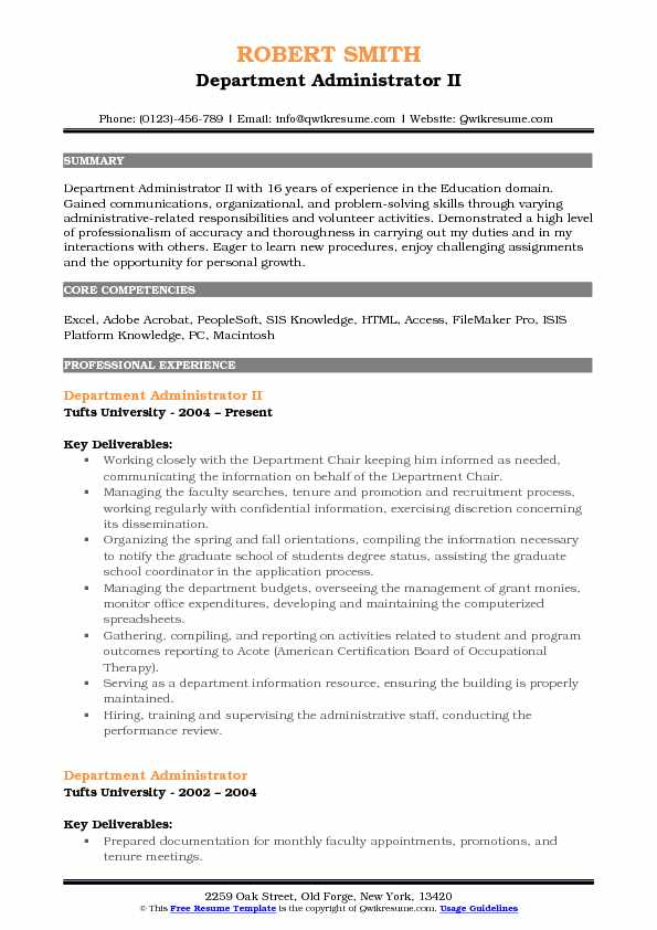 Department Administrator II Resume Model