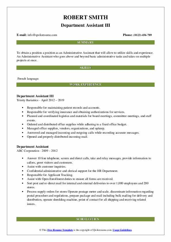 Department Assistant III Resume Sample