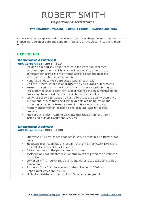 Department Assistant II Resume Format