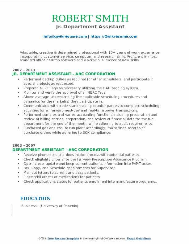 Jr. Department Assistant Resume Model