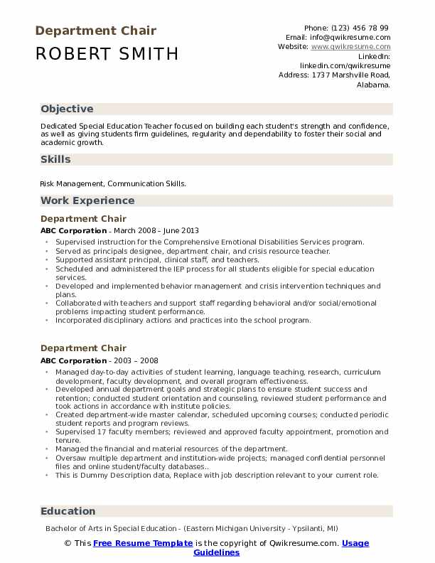 Department Chair Resume example