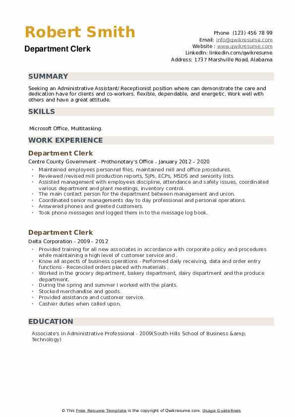 Department Clerk Resume example