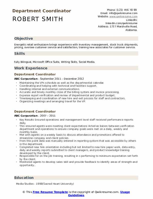 Department Coordinator Resume example