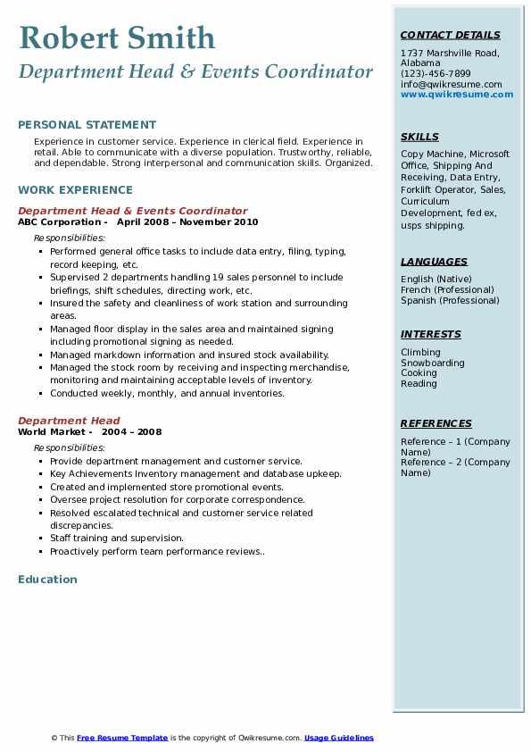 Department Head & Events Coordinator Resume Model