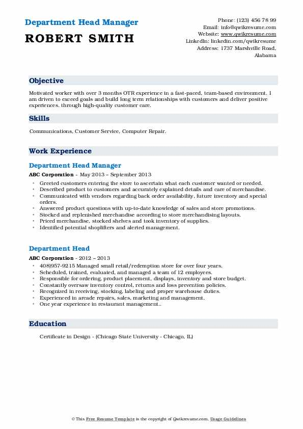 Department Head Manager Resume Model