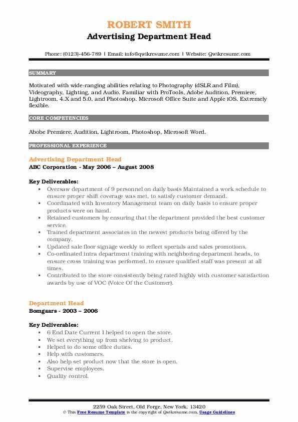 Advertising Department Head Resume Sample