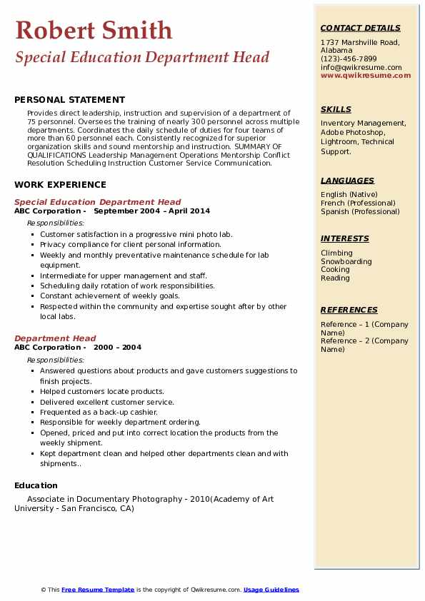 Special Education Department Head Resume Model