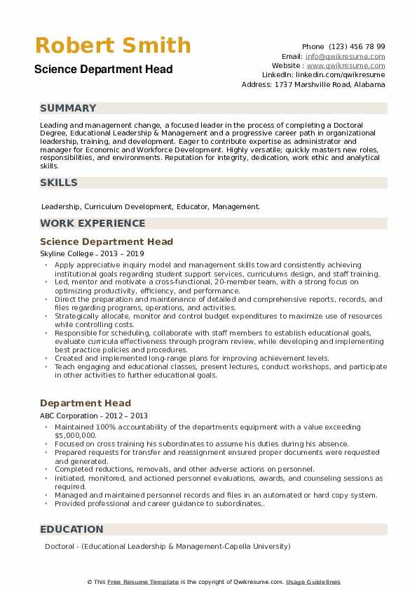 Science Department Head Resume Example