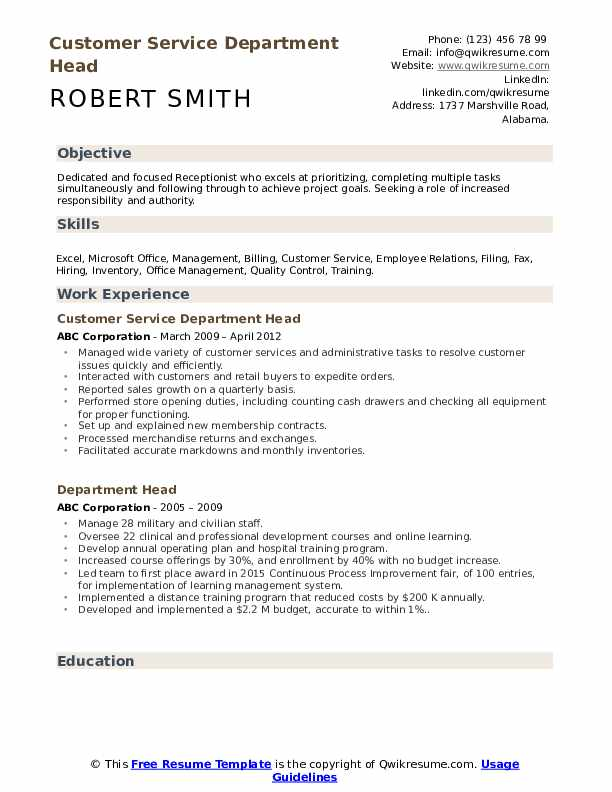 Customer Service Department Head Resume Example