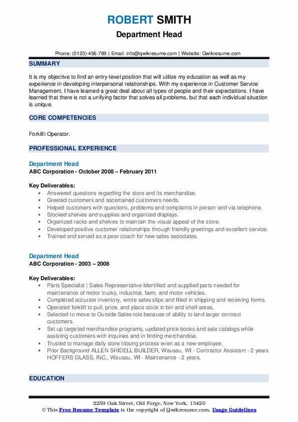 Department Head Resume example
