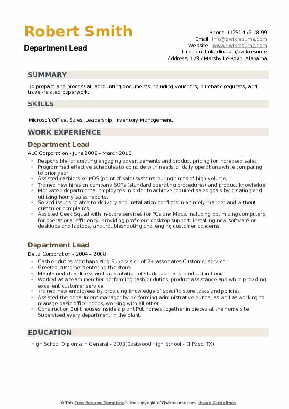 Department Lead Resume example