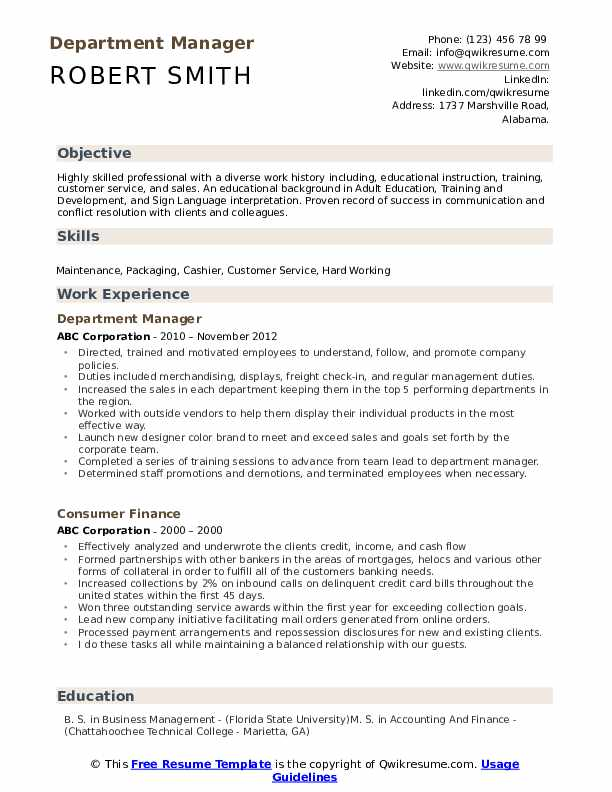 Department Manager Resume Format