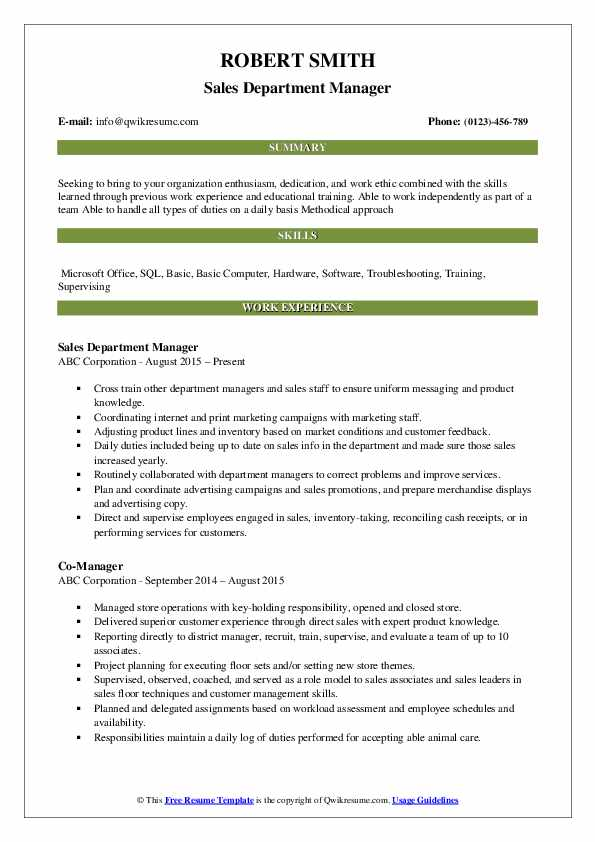 Sales Department Manager Resume Example
