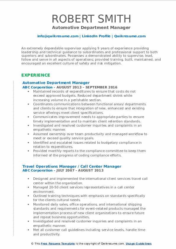 Automotive Department Manager Resume Model
