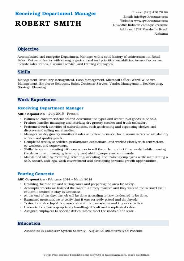 Receiving Department Manager Resume Example