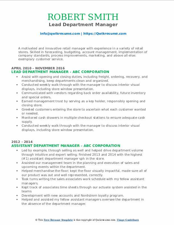 Lead Department Manager Resume Format