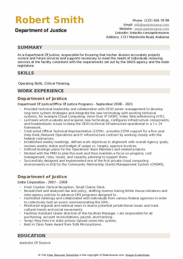 Department of Justice Resume example