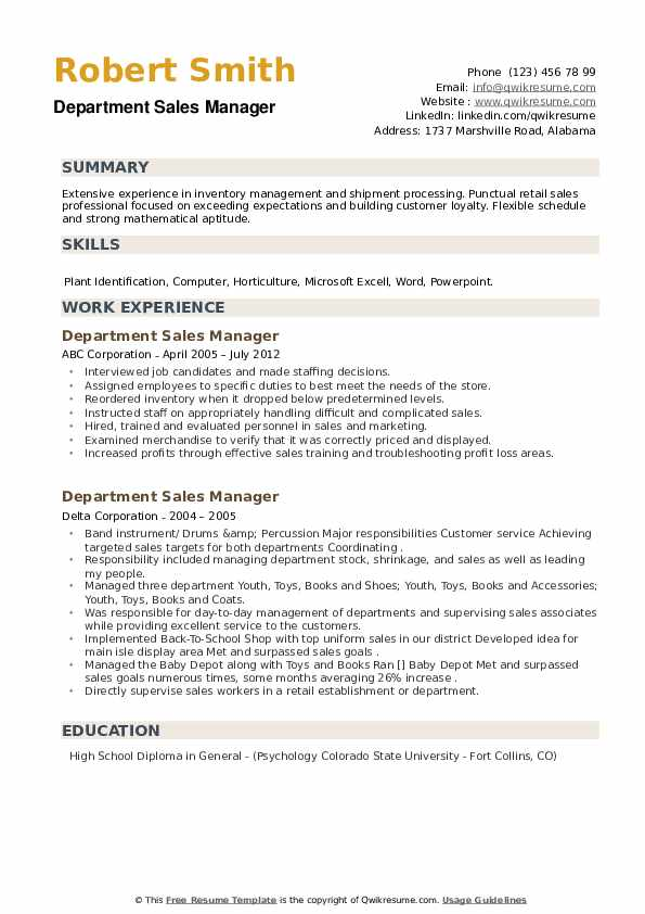 Department Sales Manager Resume example
