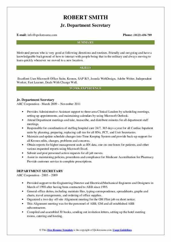 Jr. Department Secretary Resume Template