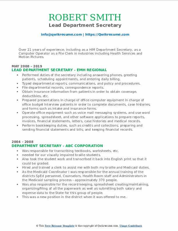 Lead Department Secretary Resume Model