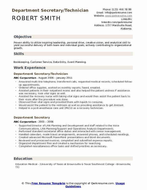 Department Secretary/Technician Resume Template