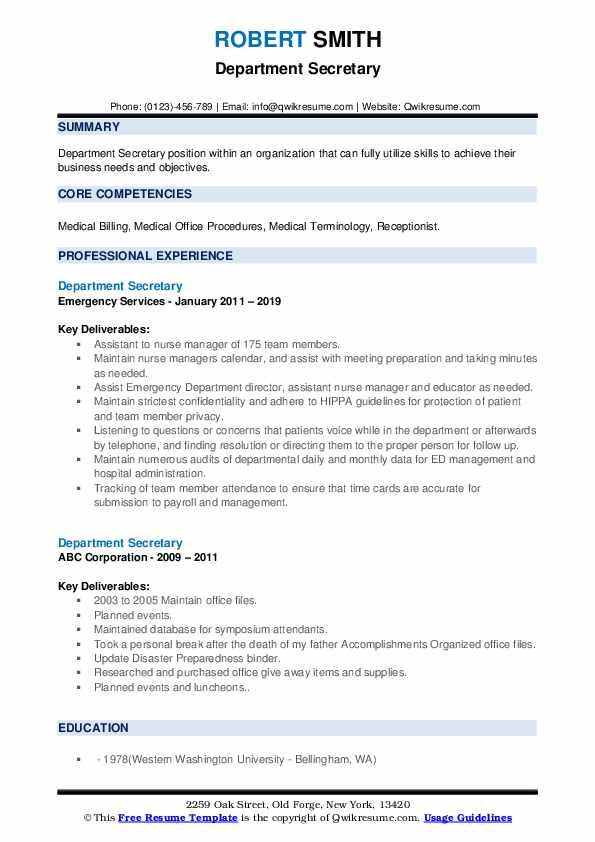 Department Secretary Resume example