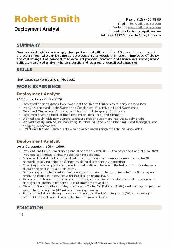 Deployment Analyst Resume example