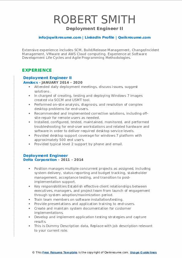 deployment engineer resume samples  qwikresume