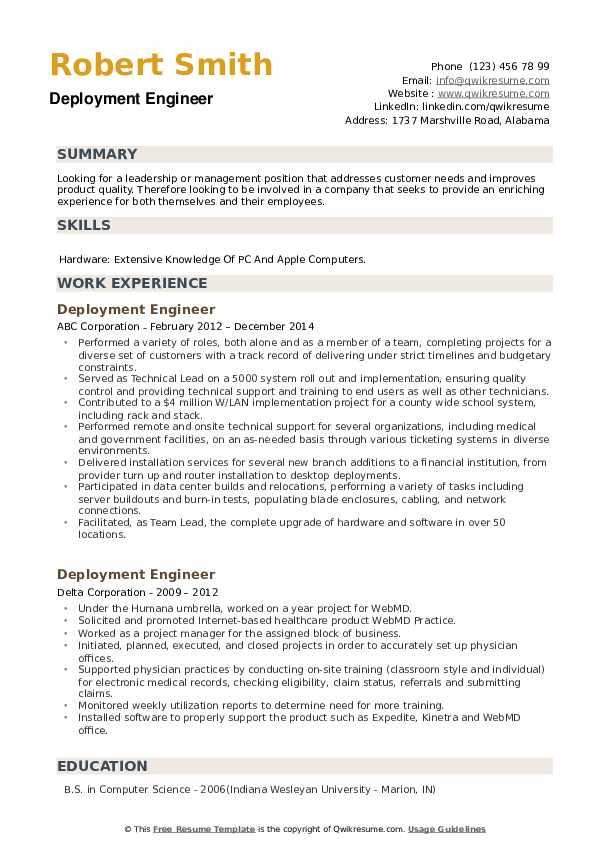 Deployment Engineer Resume example