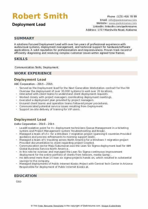 Deployment Lead Resume example