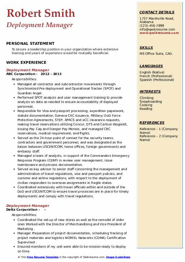 Deployment Manager Resume example