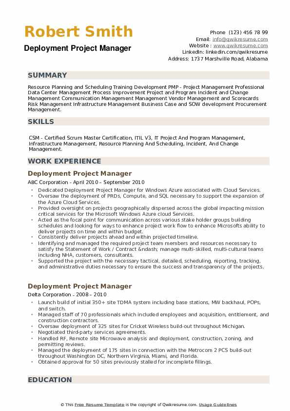Deployment Project Manager Resume example
