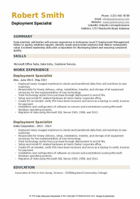Deployment Specialist Resume example