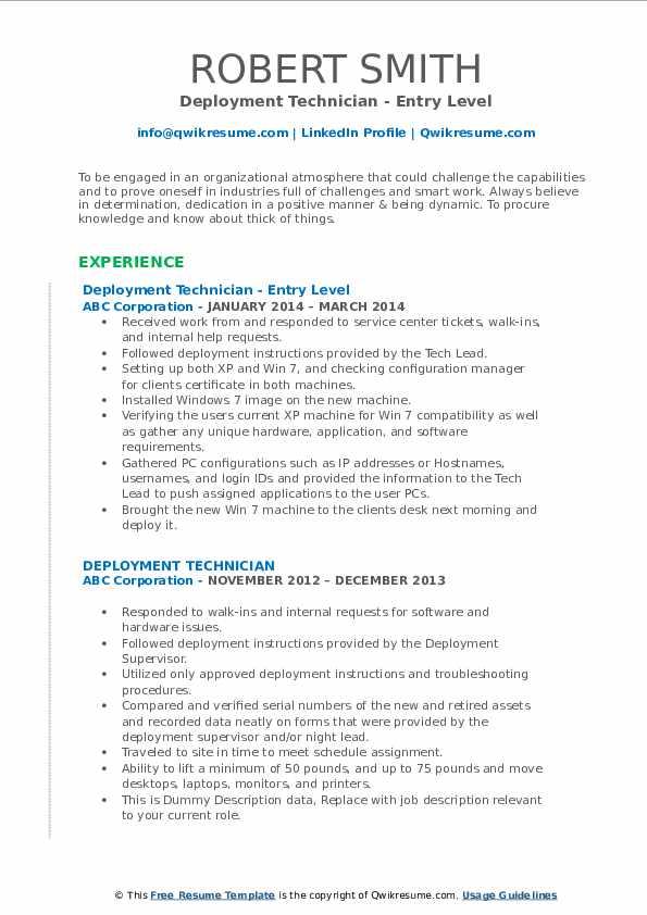 deployment technician resume samples  qwikresume