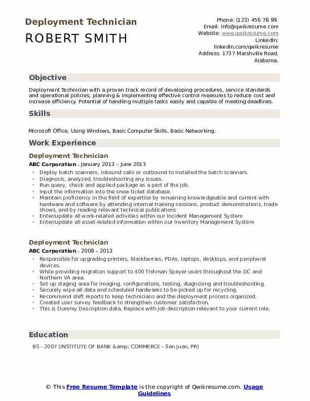 Deployment Technician Resume example
