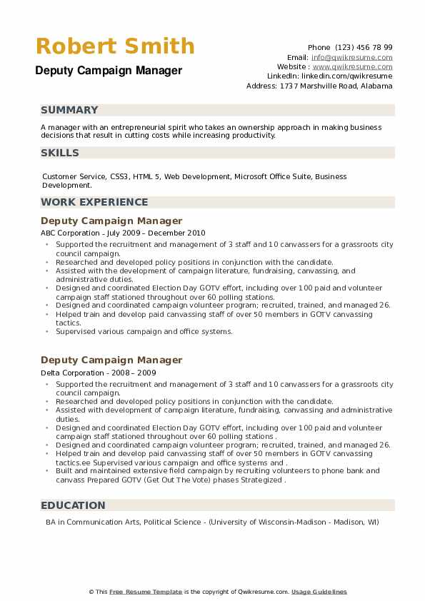 Deputy Campaign Manager Resume example