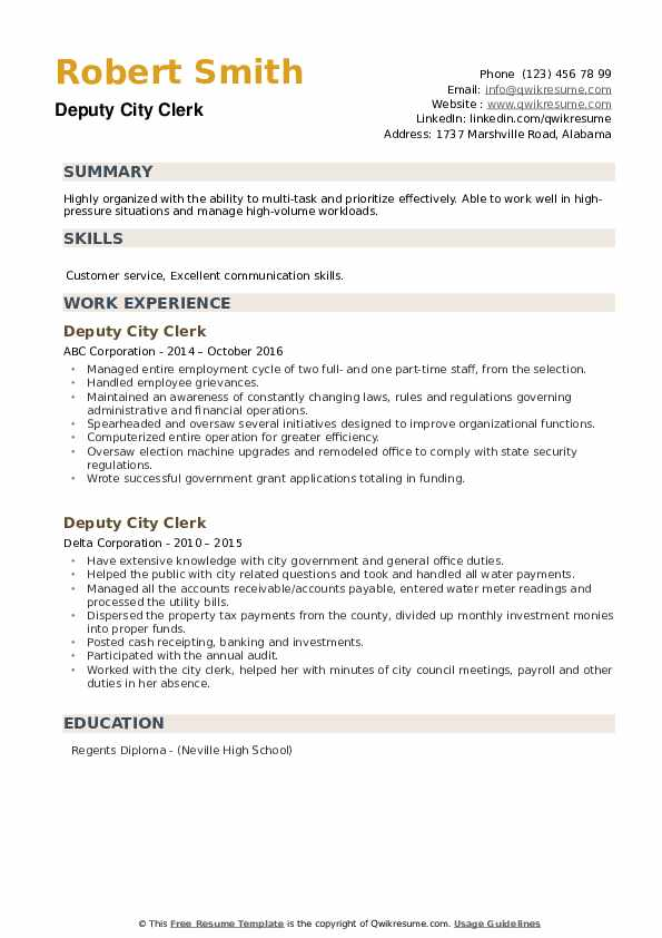 Deputy City Clerk Resume example