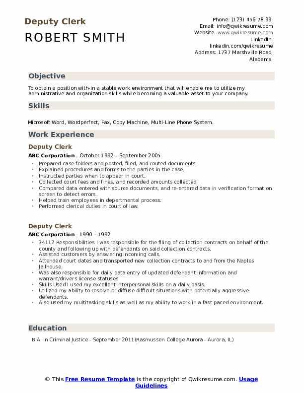 Deputy Clerk Resume Sample
