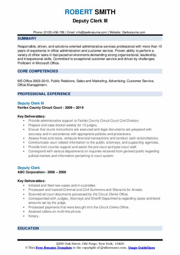 Deputy Clerk III Resume Format