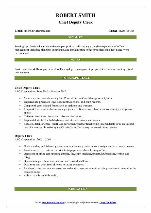 Chief Deputy Clerk Resume Example